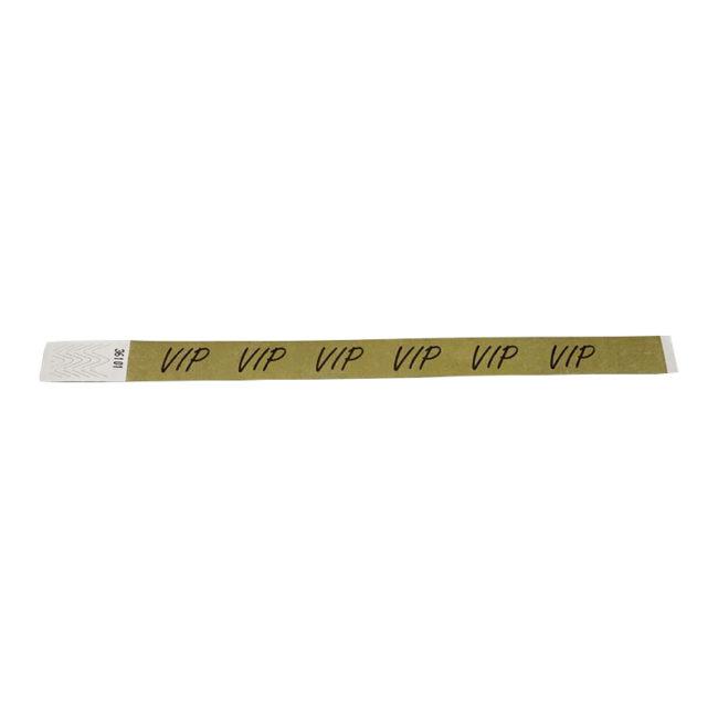 Tyvek-Kontrollarmband (Papierarmband) mit Klebeverschluss Gold, 19mm mit Aufdruck VIP-0