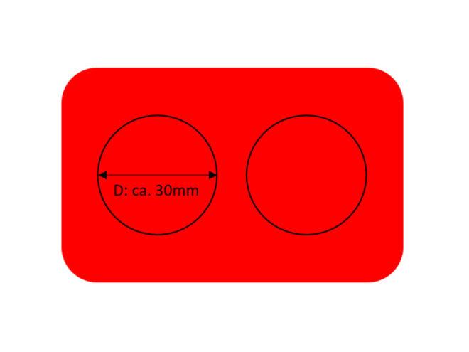 Kartenrohlinge Namentags rot 2 Kreise