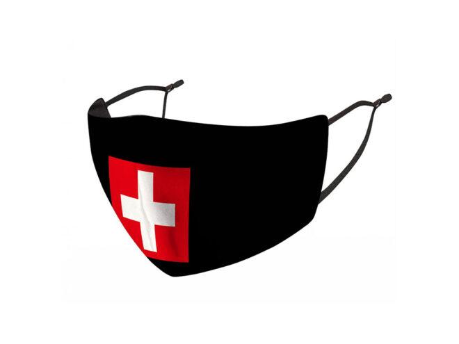 Mund-Nasen-Maske aus Stoff mit Schweizer Kreuz bedruckt