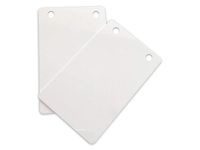 PVC Karten weiss, 2 Rundlöcher HF