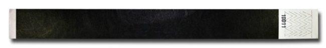 Tyvek-Kontrollarmband (Papierarmband) mit Klebeverschluss 25mm Schwarz-0