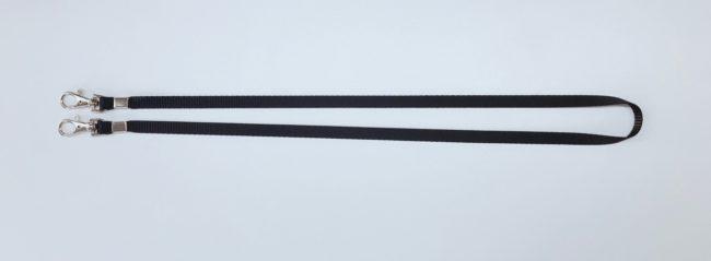 Umhängeband / Lanyards 10mm unbedruckt, Schwarz mit 2 Karabinerhaken flach-0
